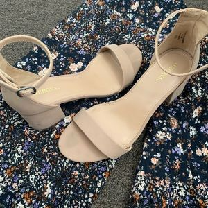 Nude Chunky Heels - Wide Fit